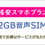2GB格安SIM(スマホ)の料金比較ランキング