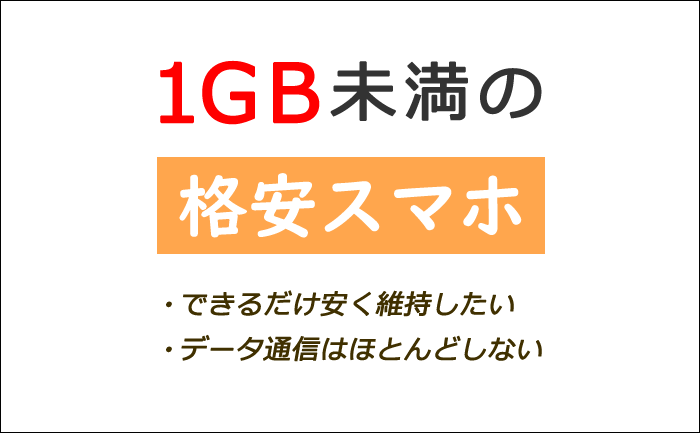 1GB未満の格安スマホ比較